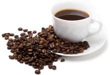 ilustrasi secangkir kopi dan biji kopi