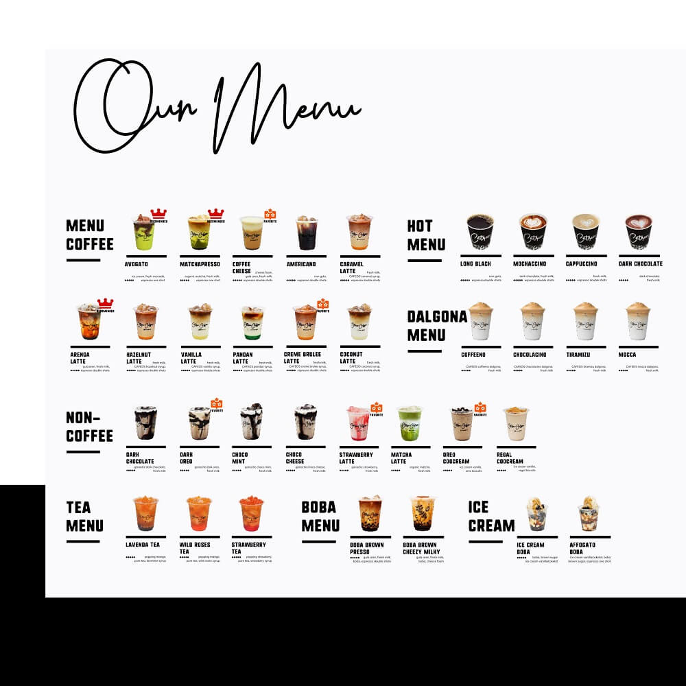 menu minuman hits franchise cetroo coffee